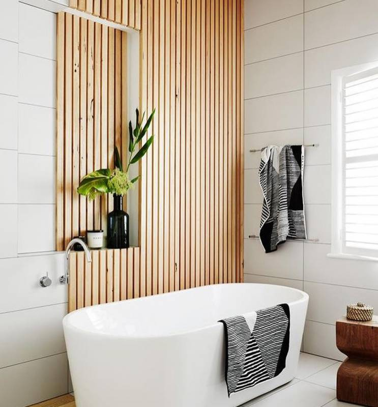 Bathroom Ideas With Wood Accent on The Wall
